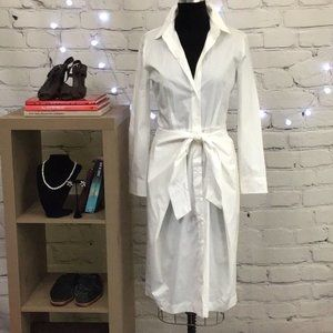 Peserico White Shirt Dress Tie Front Size M
